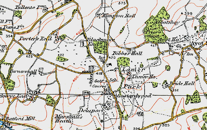 Old map of Gustard Wood in 1920