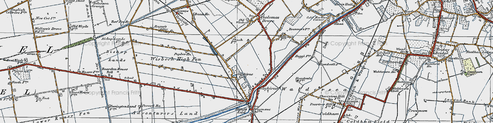 Old map of Wisbech High Fen in 1922