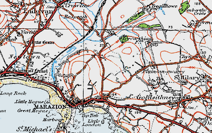 Old map of Gwallon in 1919