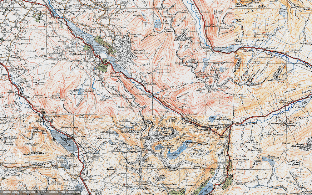 Old Map of Historic Map covering Afon Las in 1922