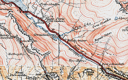 Old map of Afon Nant Peris in 1922