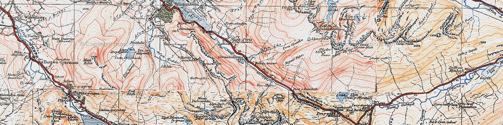 Old map of Afon Las in 1922
