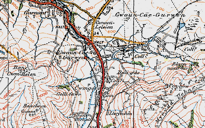 Old map of Baily Glas Uchaf in 1923