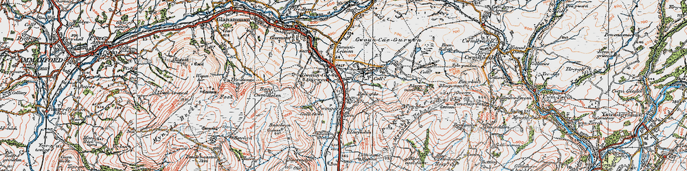Old map of Gwaun-Cae-Gurwen in 1923