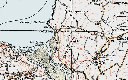 Old map of Gwbert in 1923