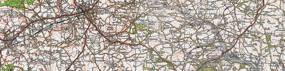 Old map of Gwennap in 1919