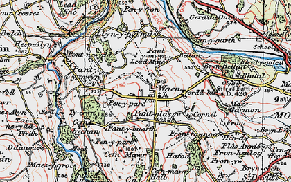 Old map of Gwernaffield in 1924