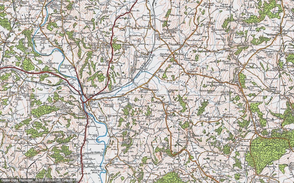 Old Map of Historic Map covering Allt-y-bela in 1919