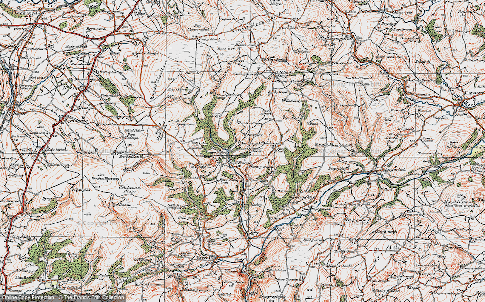 Old Map of Historic Map covering Allt Penygarreg in 1923