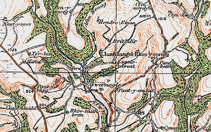 Old map of Allt Troed-y-rhiw in 1923
