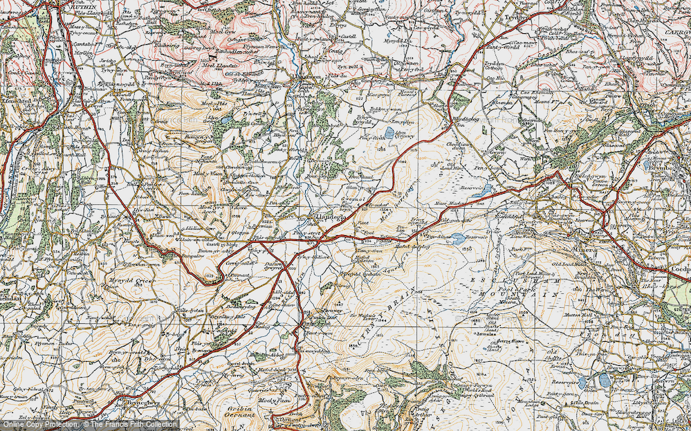 Old Map of Gwernol, 1921 in 1921