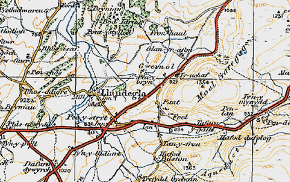 Old map of Gwernol in 1921