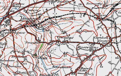 Old map of Gwinear in 1919