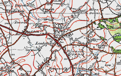 Old map of Gwinear Downs in 1919