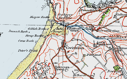 Old map of Gwithian in 1919
