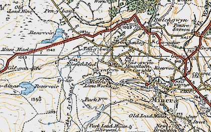 Old map of Aber Sychnant in 1921
