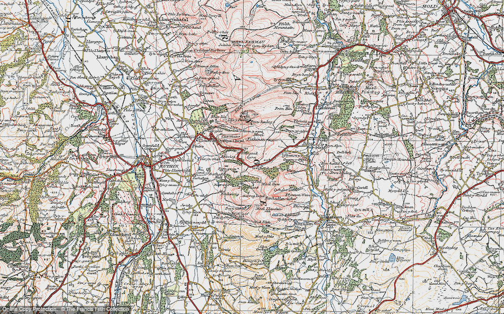 Old Map of Gyrn, 1924 in 1924