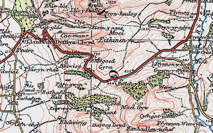 Old map of Gyrn in 1924