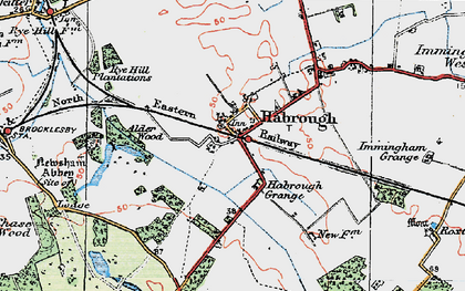 Old map of Habrough in 1923