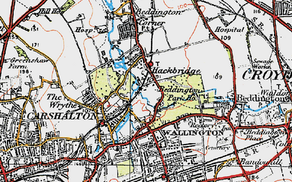 Old map of Hackbridge in 1920