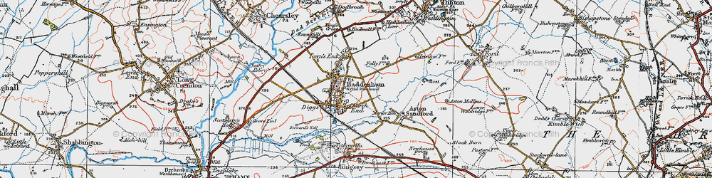 Old map of Haddenham in 1919