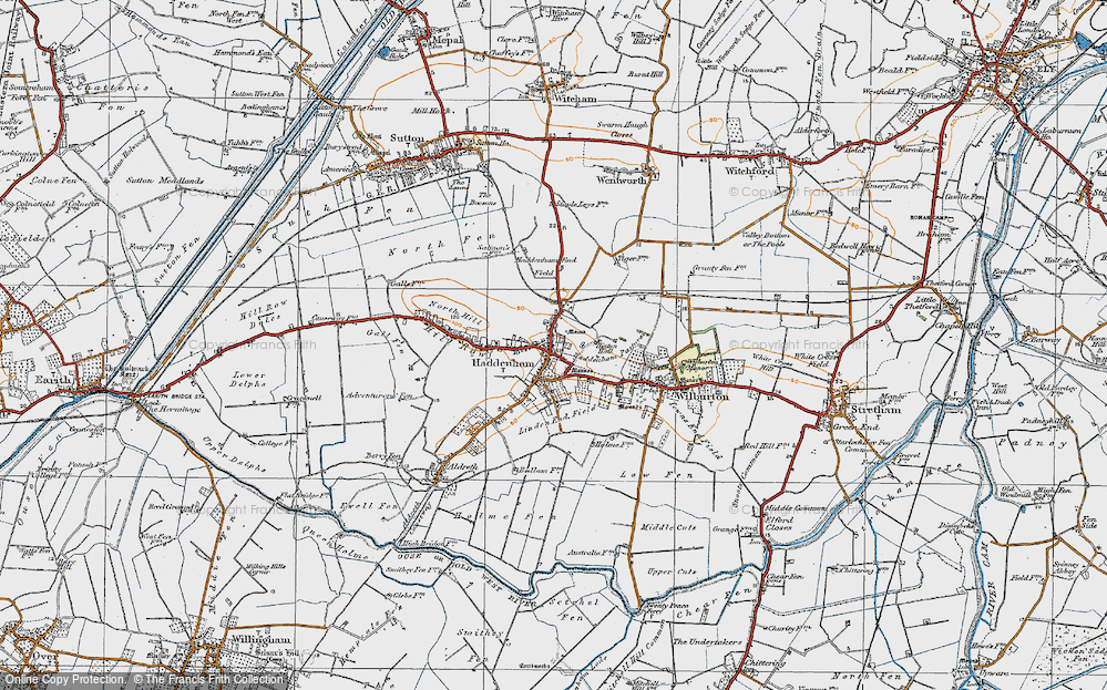 Old Map of Historic Map covering Linden End Field in 1920
