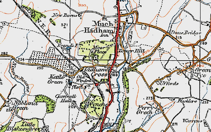 Old map of Hadham Cross in 1919