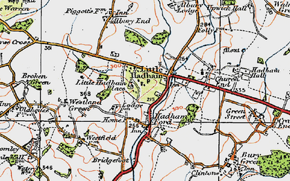 Old map of Hadham Ford in 1919