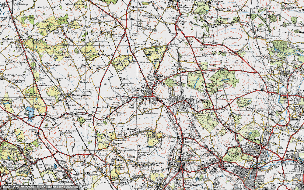 Old Map of Historic Map covering Barnet in 1920