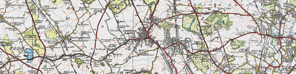 Old map of Hadley in 1920