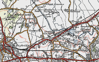 Old map of Hadley in 1921