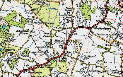 Old map of Hadlow in 1920
