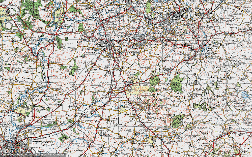 Old Map of Historic Map covering Wychbury in 1921