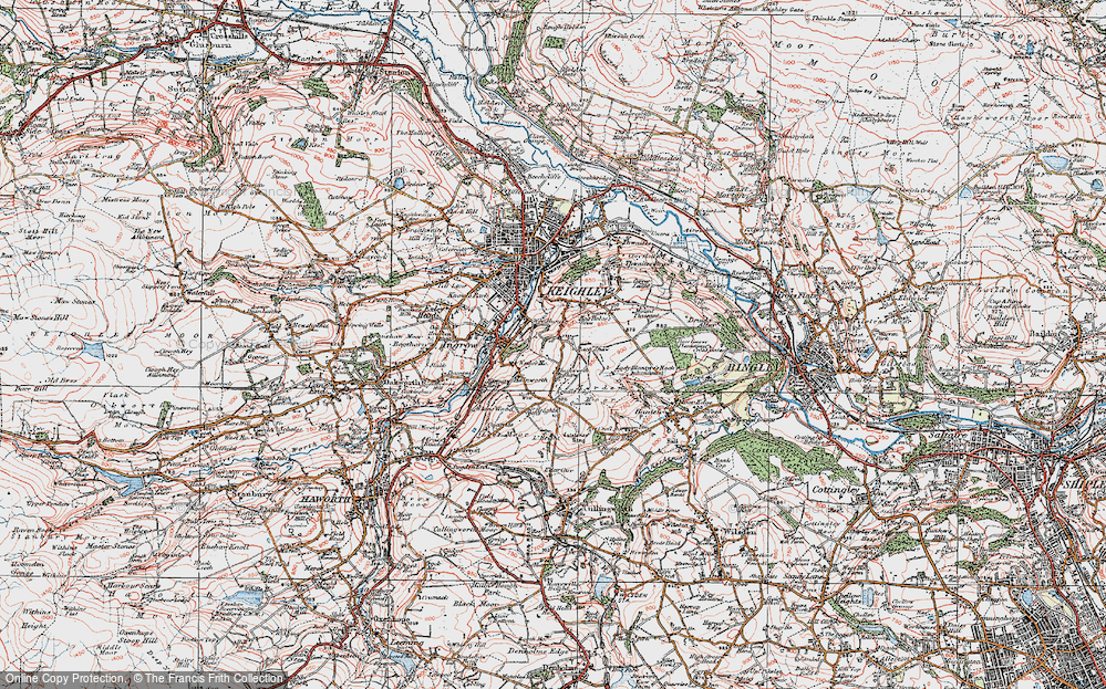Old Map of Historic Map covering Back Shaw in 1925