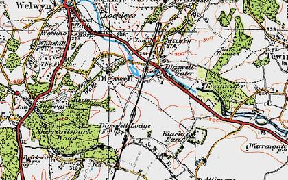 Old map of Haldens in 1920