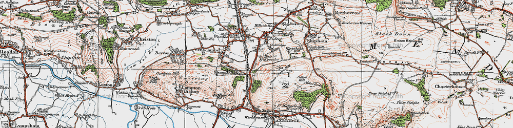 Old map of Winterhead Hill in 1919