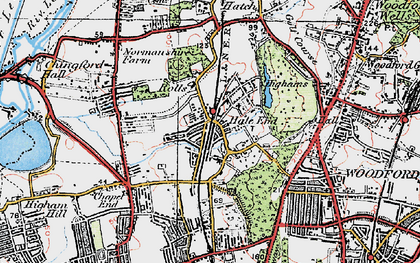 Old map of Hale End in 1920