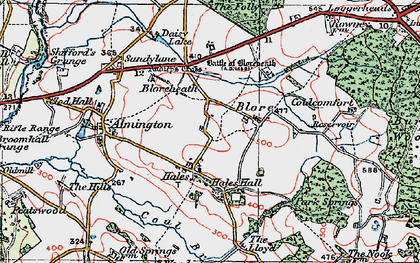 Old map of Hales in 1921