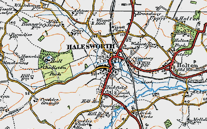 Old map of Halesworth in 1921
