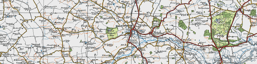 Old map of Wissett Hall in 1921