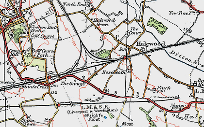 Old map of Halewood in 1924