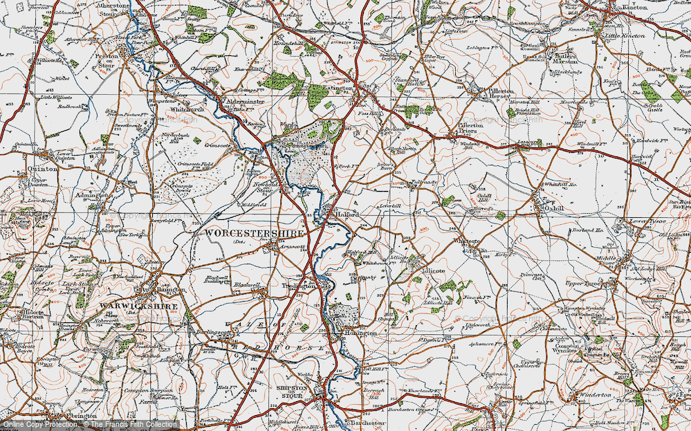Old Map of Halford, 1919 in 1919