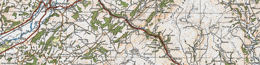 Old map of Y Pigwn (Roman Camps) in 1923