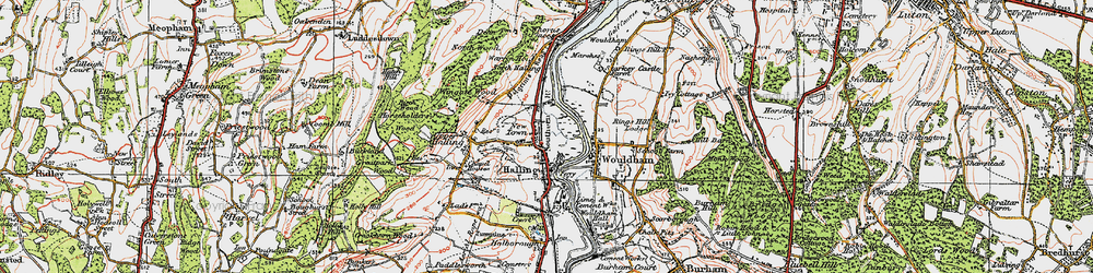 Old map of Halling in 1920