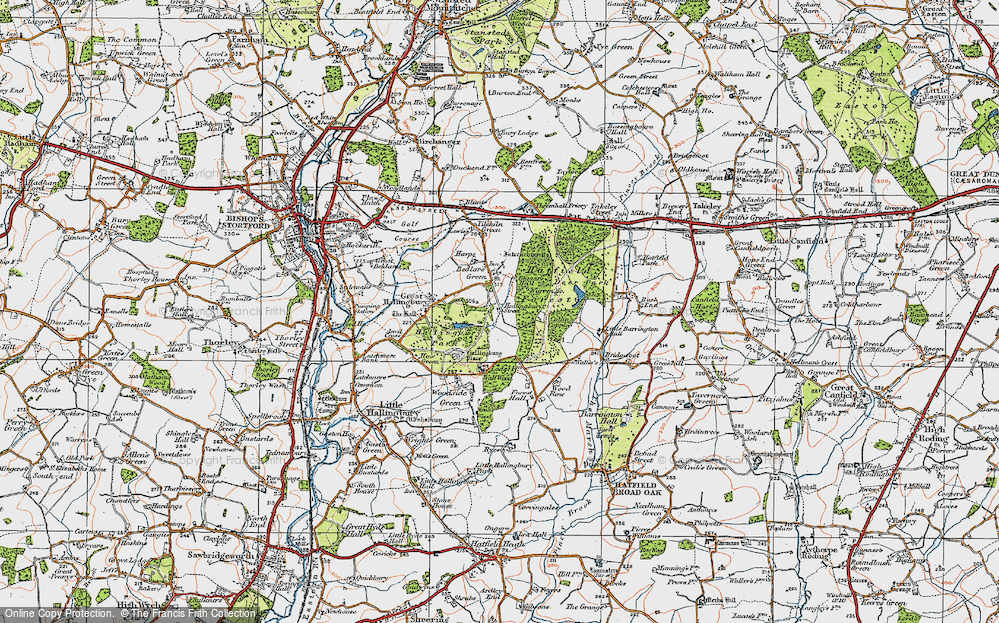 Old Map of Historic Map covering Woods, The in 1919