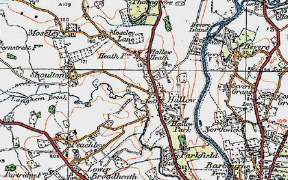 Old map of Hallow in 1920