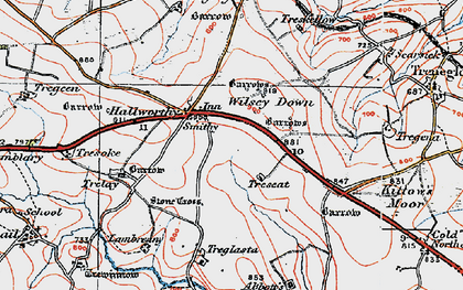 Old map of Hallworthy in 1919