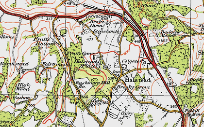 Old map of Halstead in 1920