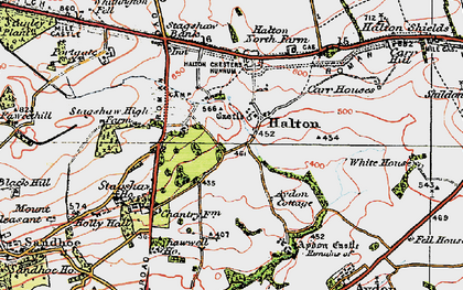 Old map of Whittington Fell in 1925