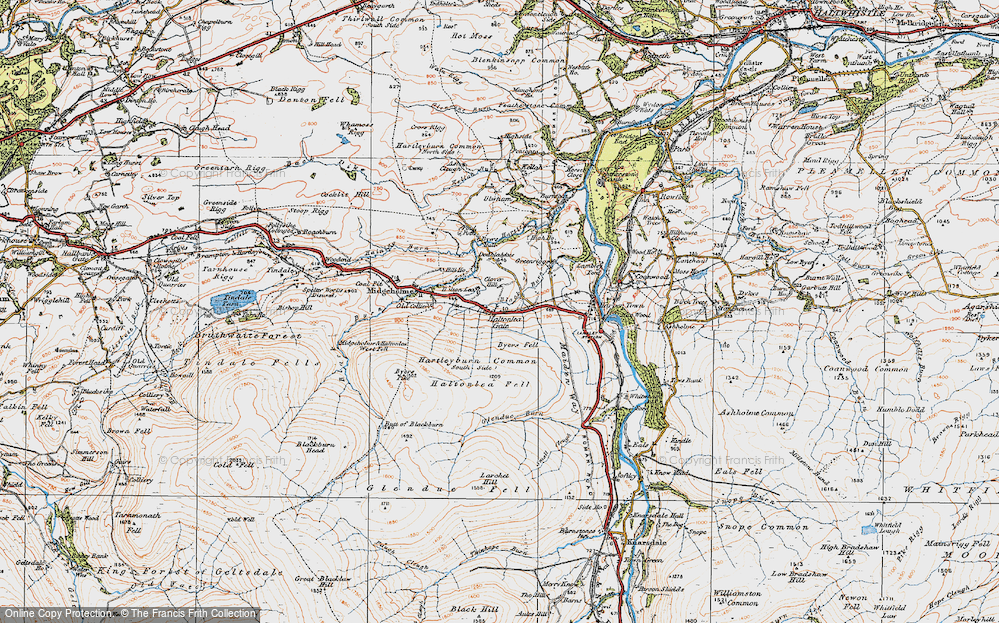 Old Map of Historic Map covering Ash Cleugh in 1925